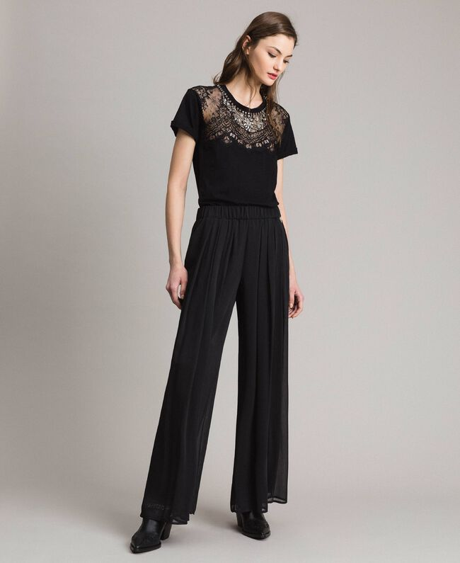 Crepon palazzo trousers Black Woman 191LB21JJ-01
