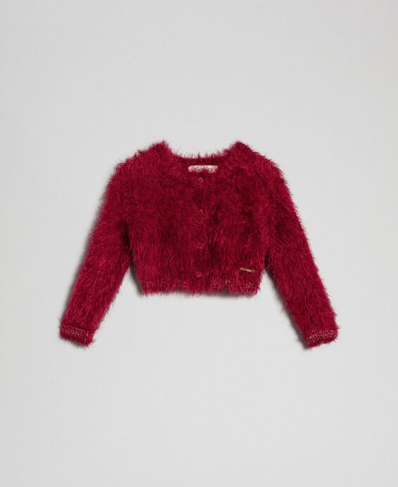 Fur effect yarn shrug cardigan