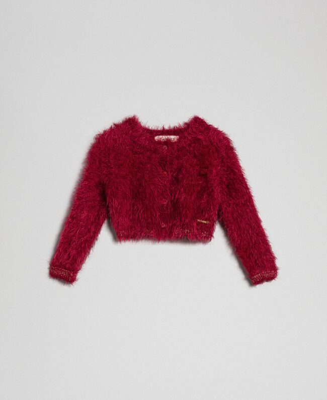 Fur effect yarn shrug cardigan Ruby Wine Red Child 192GB3061-01