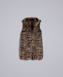 Weste aus Trikot mit Pelz Zweifarbig Schwarz / Kamelbraun Frau PA82LD-0S