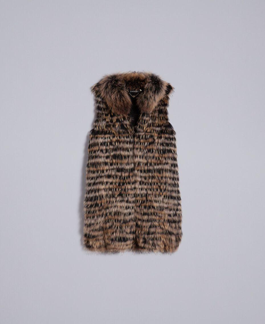 Gilet tricoté en fourrure Bicolore Noir / Camel Femme PA82LD-0S