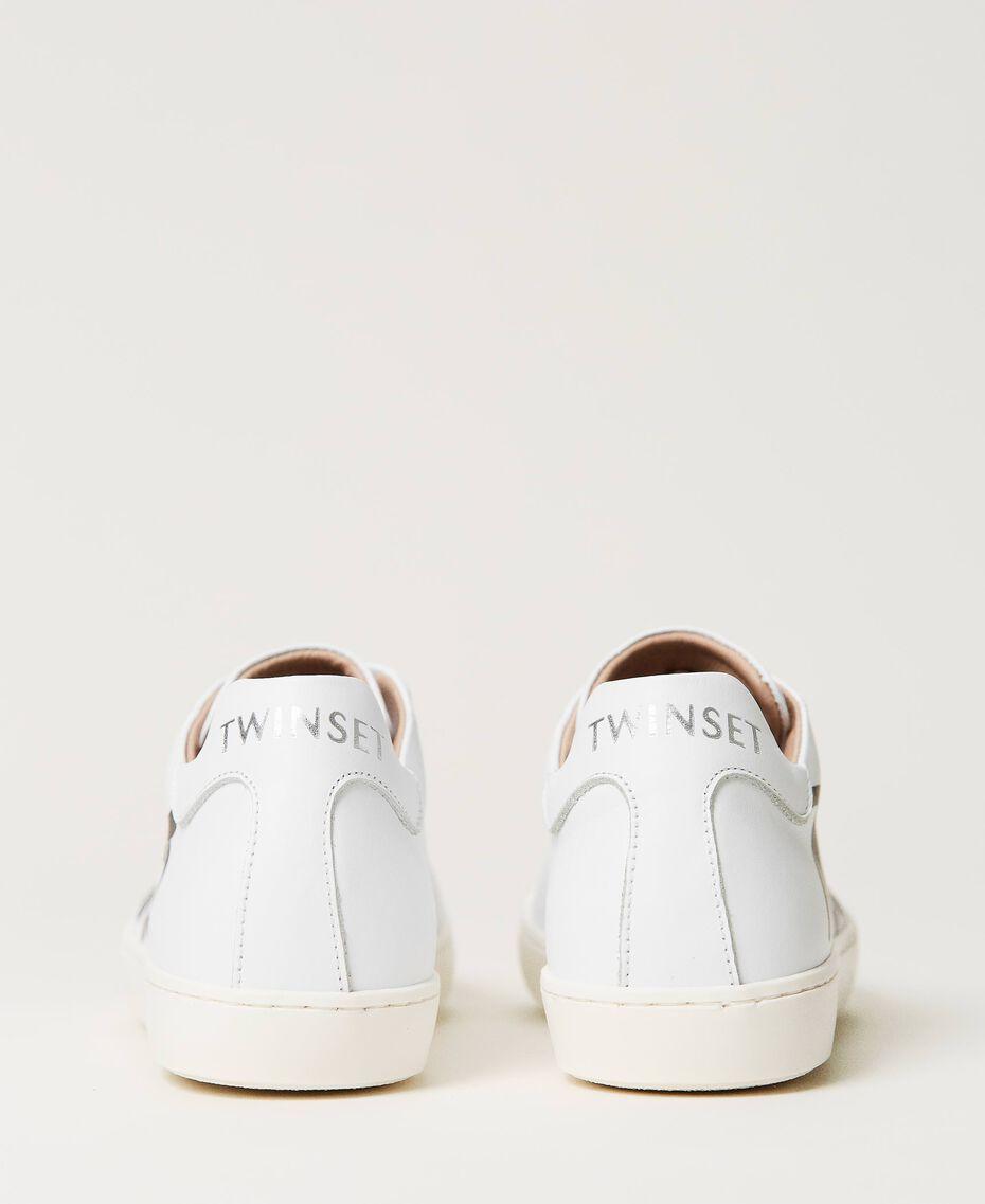 Sneakers aus Leder mit Logo Mattweiß Kind 211GCJ050-02