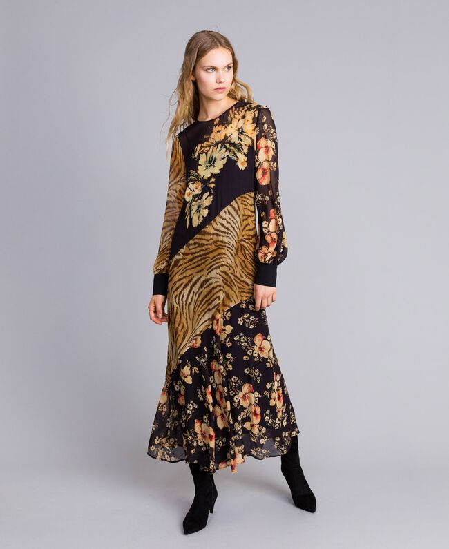 Long dress with mix of prints Flowers&Tiger Mix Print Woman TA825B-04