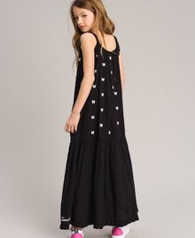 Plumetis long dress with embroideries Black / Optical White Embroidery Child 191GJ2372-04