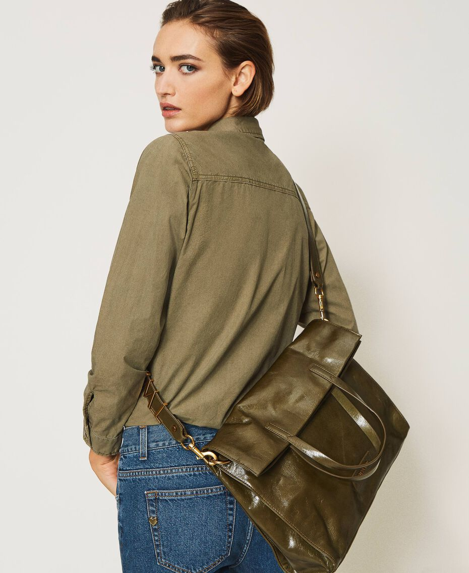 Borsa shopper Twinset Bag in pelle ripiegabile Dark Olive Green Donna 202TB7099-0S