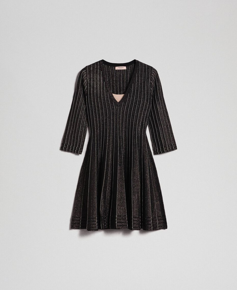 Pleated lurex knit dress Lurex Black Woman 192TP3302-0S