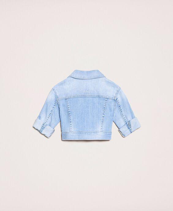 Boxy denim jacket with embroidery