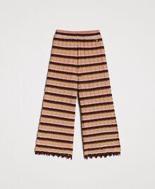 """Pantalon palazzo rayé en lurex Multicolore Marron """"Poudre De Bronze"""" Femme 191LB3AEE-0S"""