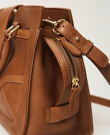 Leather shopper with buckle Leather Brown Woman 202TB7124-04