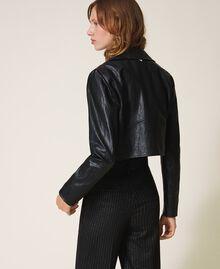 Укороченная куртка-косуха из искусственной кожи Черный женщина 202TP230A-03