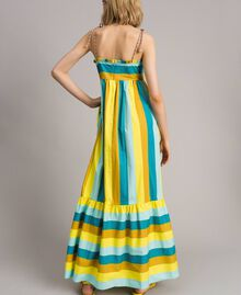 Mehrfarbig gestreiftes Popeline-Maxikleid Multicolour Motiv Keramikblau Frau 191TT2411-04