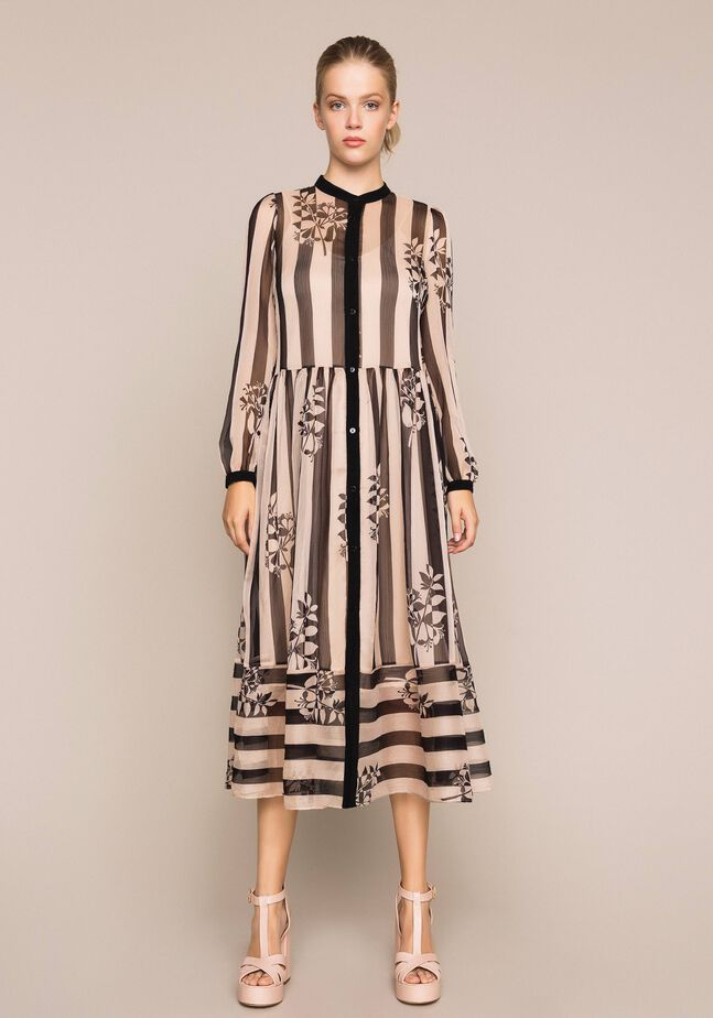 Long creponne dress with stripe and flower print