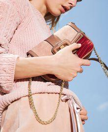 Petit sac à bandoulière Rebel en cuir lisse et cuir velours Multicolore Nude / Rouge Cerise / Cuir Femme 202TB7053-0S