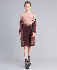 Jupe mi-longue en jacquard lurex Jacquard Bordeaux Lurex Femme PA835Q-0T