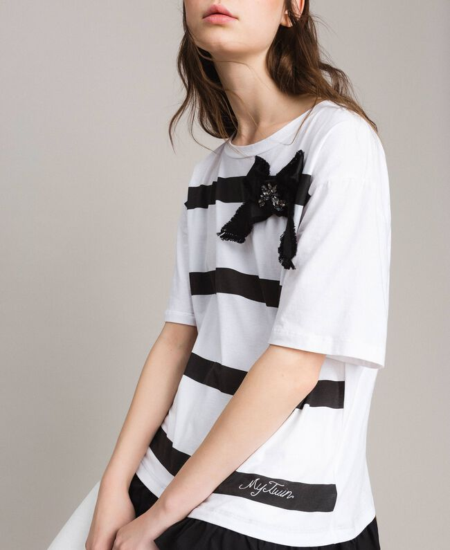 Maxi striped T-shirt with bow White Cream Woman 191MP206C-04