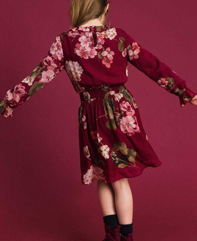 Robe en crêpe georgette avec imprimé floral Imprimé Rouge Betterave Géranium Enfant 192GJ2592-04