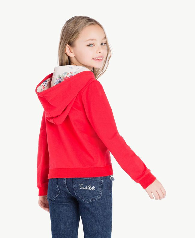 Logo sweatshirt Two-tone Pomegranate Red / Chantilly Flowers Child GS82SN-04