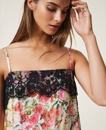Printed satin top with lace Large Flower Print Woman 202LL2EKK-04
