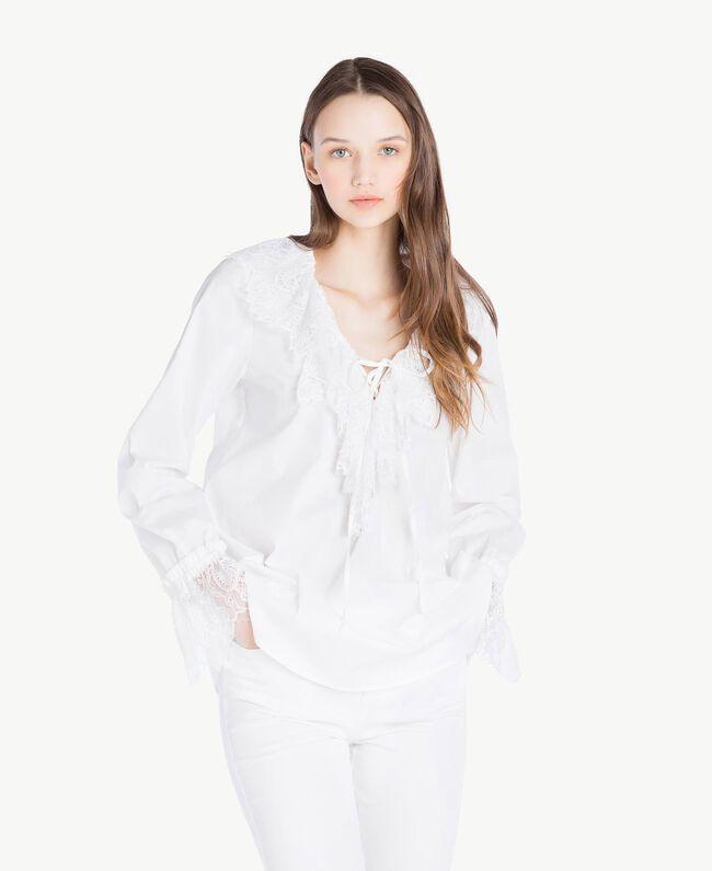 Bluse mit Spitze Weiß Frau SS82J2-01
