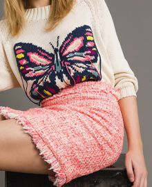 "Minirock aus Tweed mit Fransen Multicolour ""Wild Rose"" Pink Bouclé Frau 191TP2527-04"