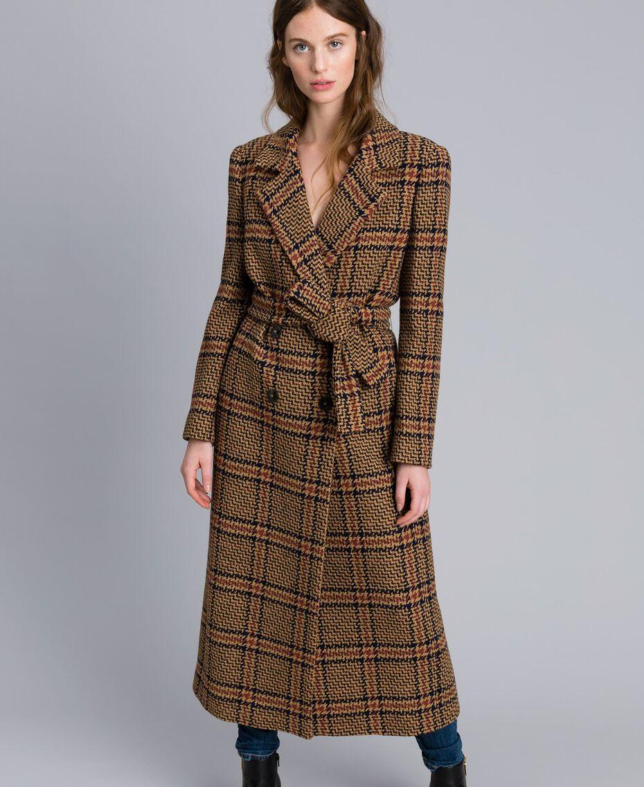 Manteau long en drap à carreaux Bicolore Carreaux Beige Cookie/ Orange Brûlée Femme TA821G-01