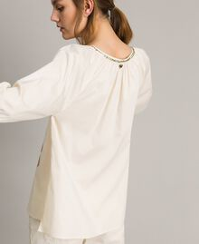 """Poplin blouse with print and studs """"Shell"""" Beige Woman 191MT2143-04"""