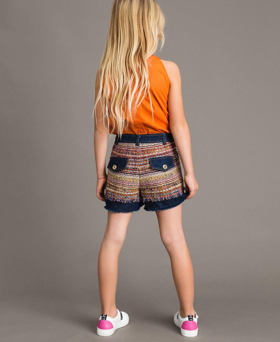 Shorts in denim con inserti Jacquard Bouclé / Denim Scuro Bambina 191GJ2021-0S