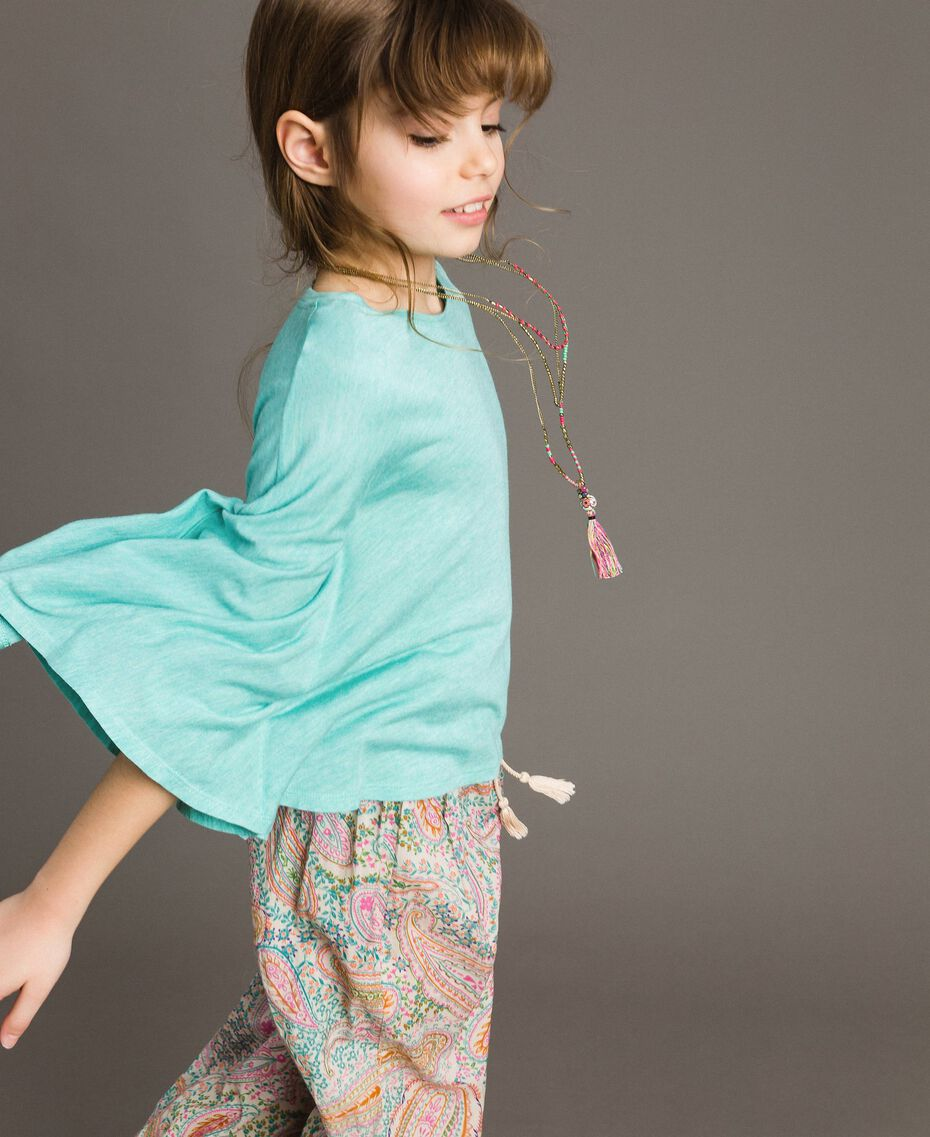 "Jersey T-shirt and multiclour necklace ""Island Paradise"" Light Blue Melange Child 191GJ2720-02"