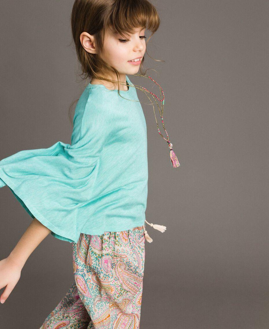 """T-shirt en jersey avec collier multicolore Mélange Bleu Clair """"Île du Paradis"""" Enfant 191GJ2720-02"""