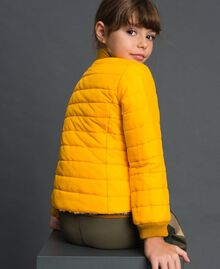 Reversible bomber-style puffer jacket Graffiti Print / Ochre Child 192GJ2120-06