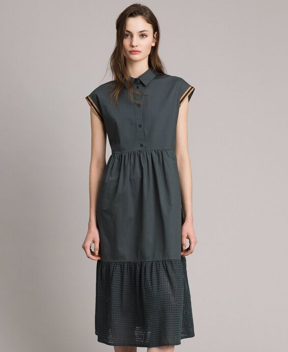 Poplin and broderie anglaise dress