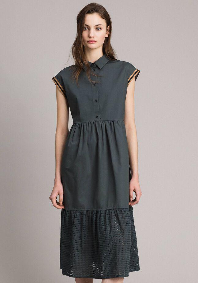 Popeline- und Broderie-Anglaise-Kleid