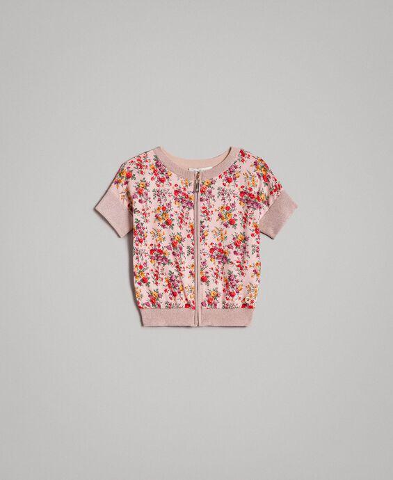 Pull cardigan en lurex floral