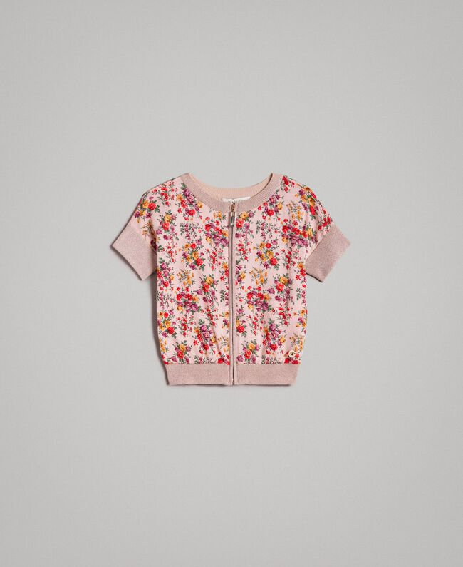 Cardigan-Pullover aus Lurex mit Blumenmuster Motiv Miniblumen Kind 191GJ3050-01