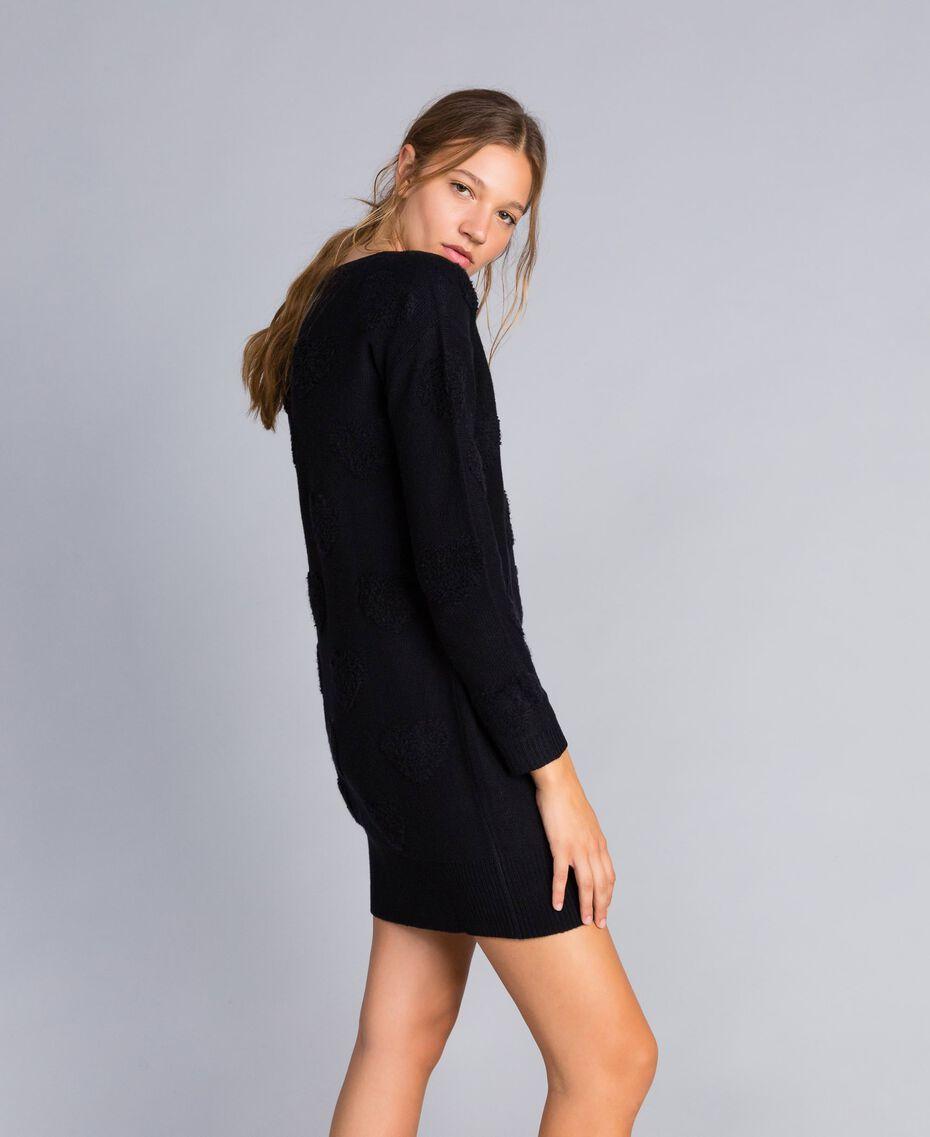 Robe en maille avec incrustation de cœurs Noir Femme JA83E2-02