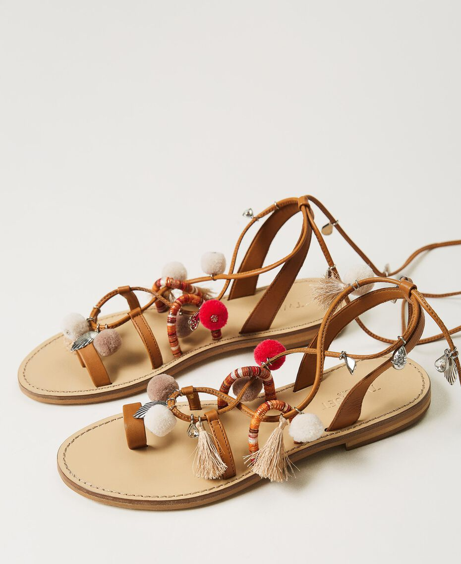 """Leather sandals with pompoms and charms """"Nautical Blue"""" / """"Indigo"""" Blue / Black Multicolour Woman 211TCT180-03"""