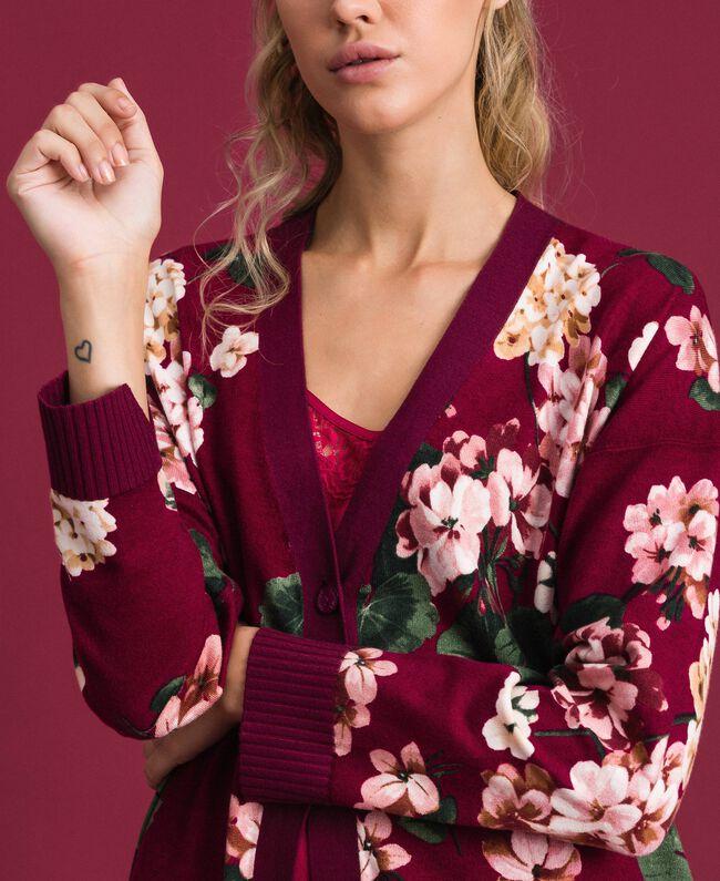 Maxi cardigan imprimé Imprimé Rouge Betterave Géranium Femme 192TP3363-04