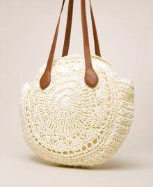 Raffia beach bag with pompoms Ivory Woman 201LM7LMM-03