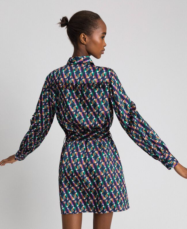 Robe chemisier imprimée avec ceinture Imprimé Géométrique Renard Femme 192ST2141-03