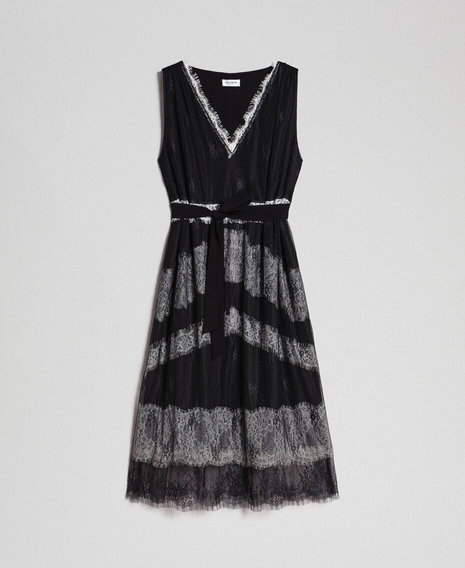 Chantilly lace dress with contrasting inlays Black / Creamy White Woman 192ST2114-0S