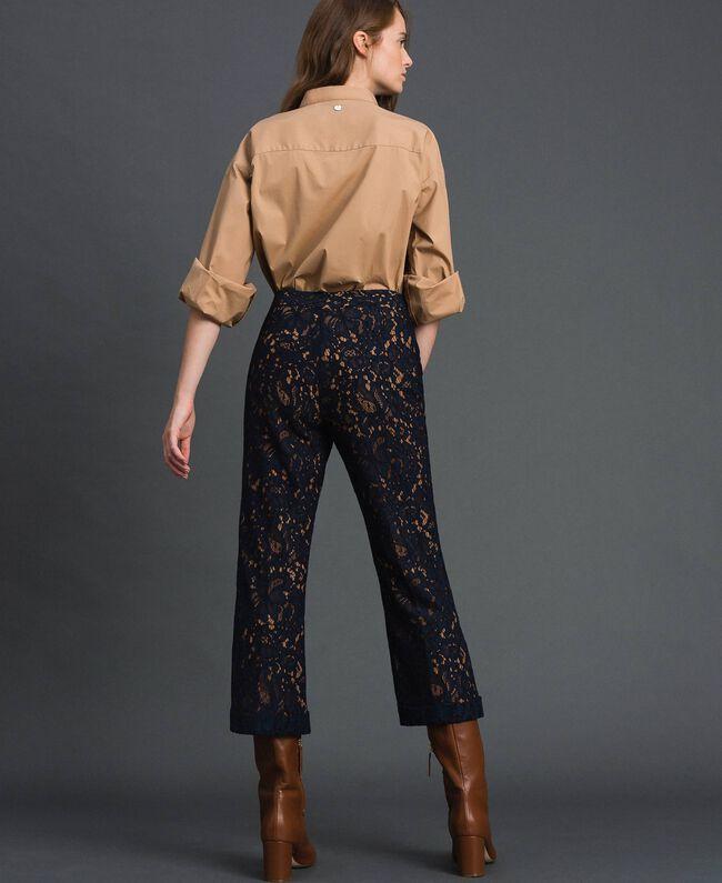 Pantalon évasé en dentelle macramé Beige «Séquoia» / Bleu Nuit Femme 192ST208D-03