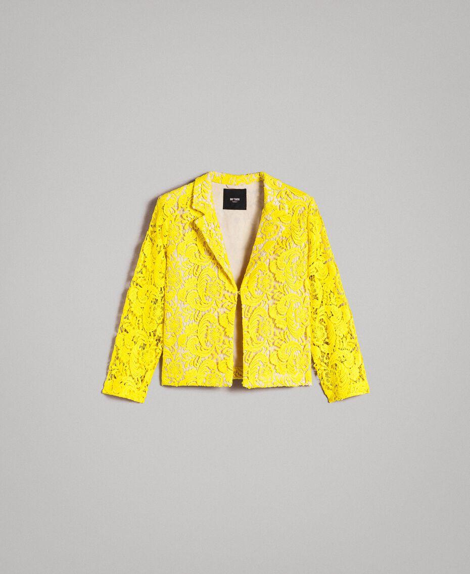 Chaqueta blazer de encaje de macramé Amarillo Fluo Mujer 191MT2150-0S