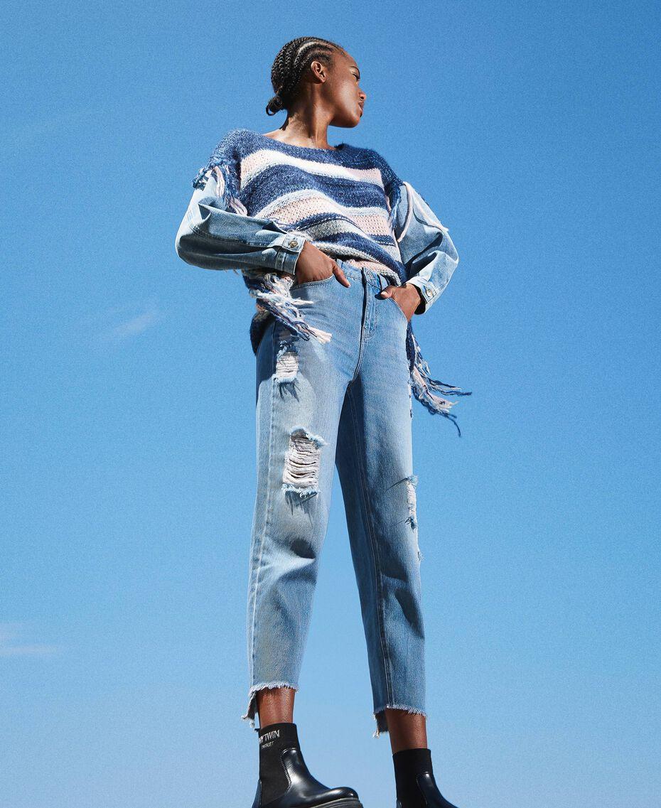 Стандартные джинсы с прорехами Деним Светлый женщина 202MT2310-01