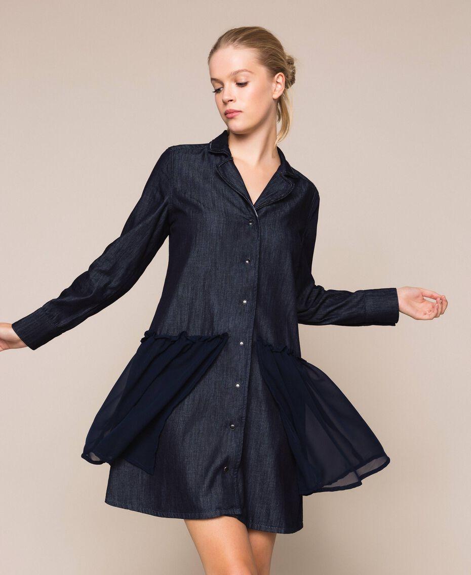 Denim shirt dress with rhinestones Denim Blue Woman 201MP2400-01