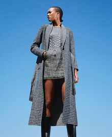 Double wool cloth reversible coat Black / Snow White Check Design Woman 202TP205C-02