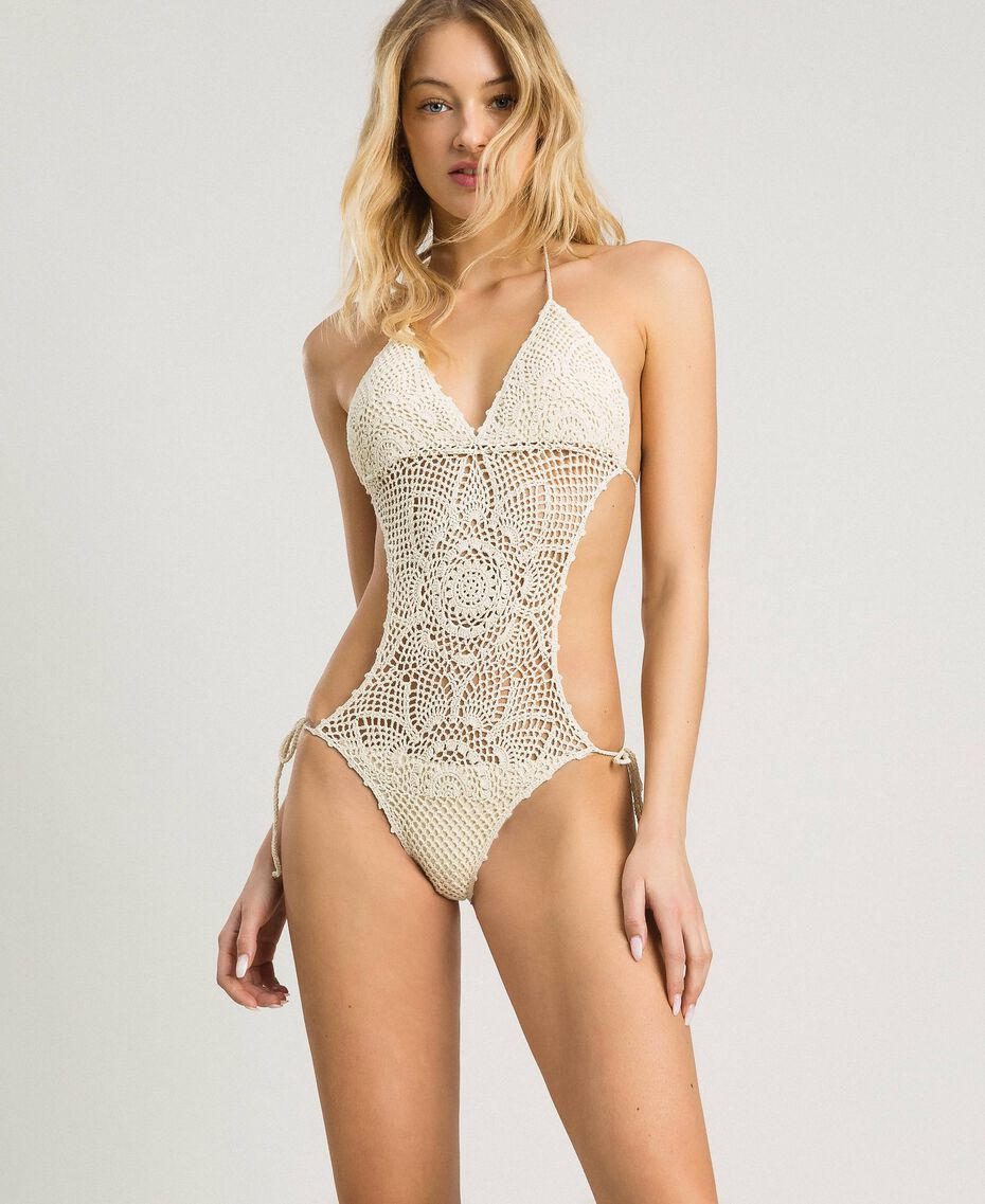 "Crochet trikini with little bows ""Milkway"" Beige Woman 191LMMNWW-0S"