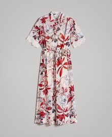 Robe longue en georgette à imprimé floral Imprimé Exotique Écru Femme 191ST2224-0S
