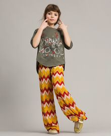 Multicolour jacquard trousers Multicolour Jacquard Child 191GJ2272-0T
