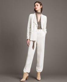 Pantalon à coupe cigarette en lin mélangé Blanc Neige Femme 191TP2201-0T
