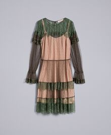 Kleid aus Plumetis-Tüll und Spitze Waldgrün Frau TA82XB-0S